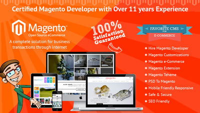 Magento build a Design and Development Ecommerce website with mobile friendly.