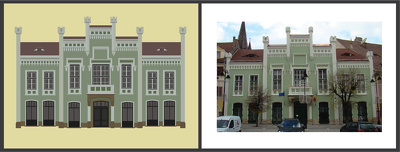 Draw a vector illustration of your building