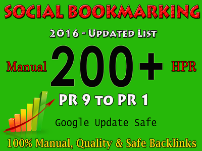 Build 200 permanent Social Bookmarking backlinks Manually to dominate SERPs