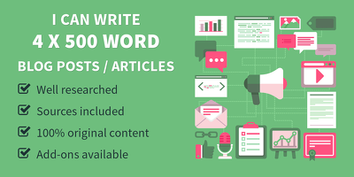 Write Four 500 word articles that are engaging & well-researched