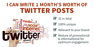 Write one month's worth of Twitter posts (Tweets) for your business (31 in total)