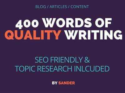Write an Unique 400 word SEO article / blog post. Original content on any topic!