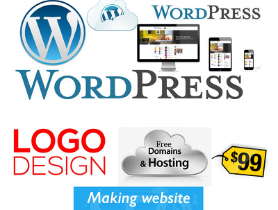Make a logo and simple wordpress seo friendly site with 1 year domain and hosting