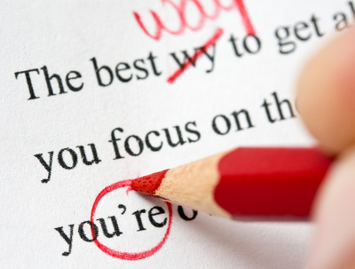 Proofread and mark up edits on up to one page of text
