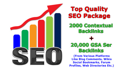 High Google ranking -2000 contextual and 20,000 GSA Backlinks-High PR Backlink-SEO