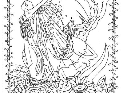 Create line art for a colouring book page