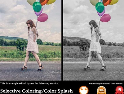 Selective Coloring/Color Splash On 10 Images