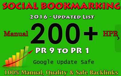 200 Manual Social Bookmarking Submissions PR 9 to 1 (with additional Packages)