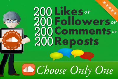 Promote with 200 SoundCloud Followers or Likes or Reposts or Comments