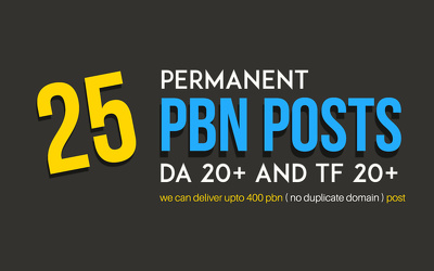 Do Permanent 25 PBN Posts - DA 20+ and TF 20+ Google real time rankings