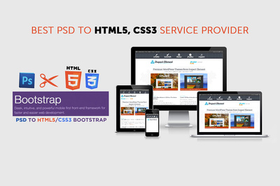 Convert PSD to html5+css3 responsive Bootstrap 3 using only one page