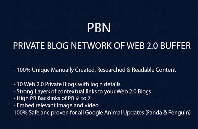 Build Private Blog Network of web2 BUFFER Backlinks