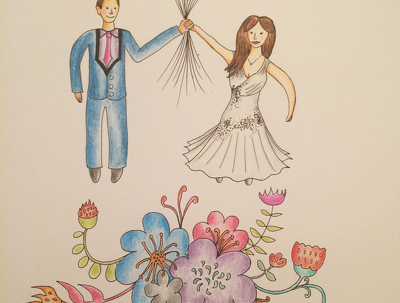 Draw a customised, colourful doodle of a Wedding Couple (Best. Gift. Ever)