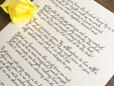 Write your romantic Valentine's Day prose in calligraphy with free delivery