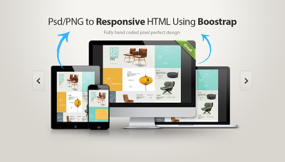 convert your PSD/PNG to  responsive HTML5/CSS3 using Bootstrap 4