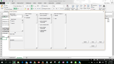 design an Excel based Purchase Order and Quotation Generator System