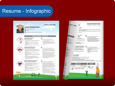 I can design resume in infographic format, neat and clean good looking style.