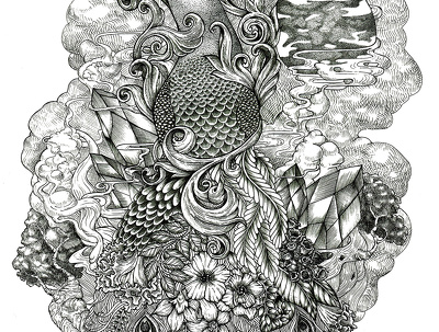 Draw detailed adult coloring page