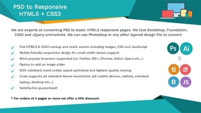 Convert single page Photoshop file to responsive HTML5 + CSS3