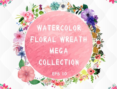 Provide 24 watercolor floral wreaths