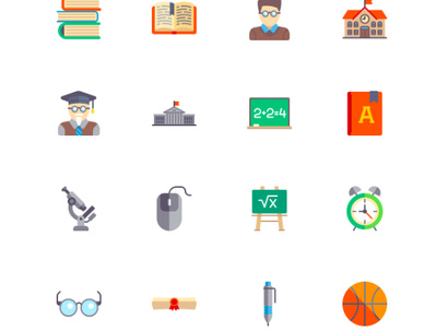 Design 5 flat colour icons
