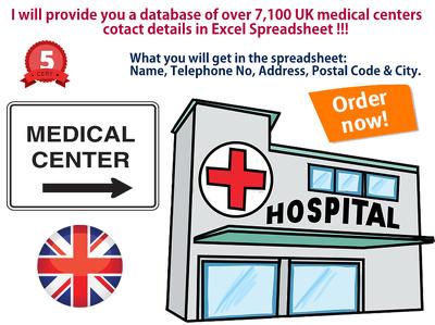 Provide UK medical center database 7K+ in Excel format.