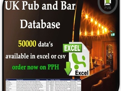 Provide UK Pub and Bar database 50K in excel format