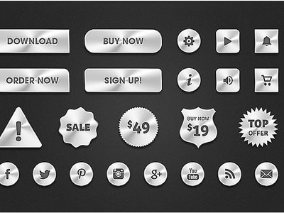 Give for you 110 awesome icons, buttons, ribbons format on Psd
