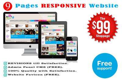 NINE Pages RESPONSIVE Website design + Back-end Admin Panel + Favicon