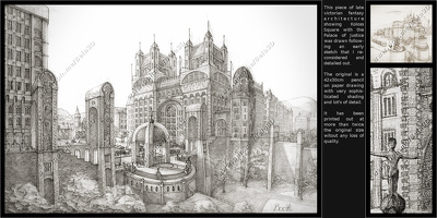 Hand draw detailed architecture or landscape drawing