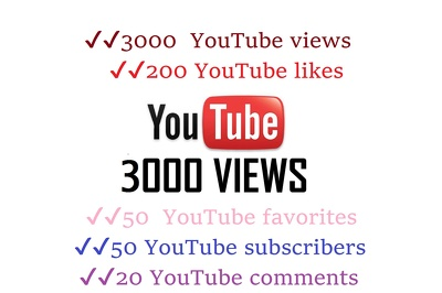 YouTube 3000 views, 200 likes, 50 favorites, 50 subscribers & 20 comments Package
