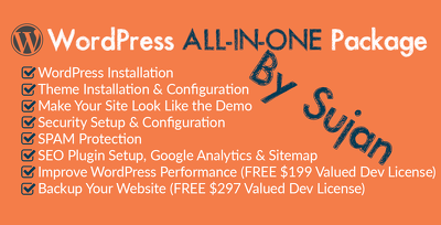 WordPress All-In-One Site(Theme Demo Setup, Logo, Plugins, SEO, Security & More)