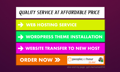 Install wordpress theme / Setup Web hosting / Move website from one server to another