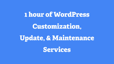 Get WordPress Support, WordPress Customization, WordPress Maintenance For 1 Hour