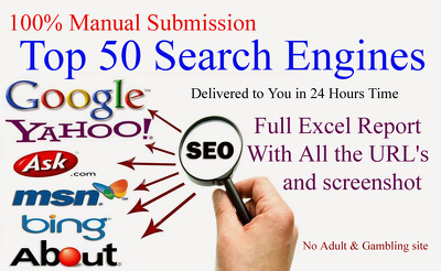 Manual Top 50 Search Engines Submission