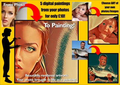 Digitally paint 5 of your photos / images into portraits