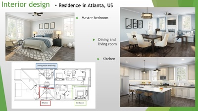 "Provide interior design for 3 rooms "" Kitchen, Master bedroom, dinning & living room"""