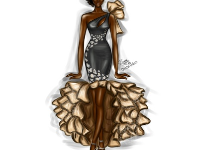 Do a detailed digital fashion illustration