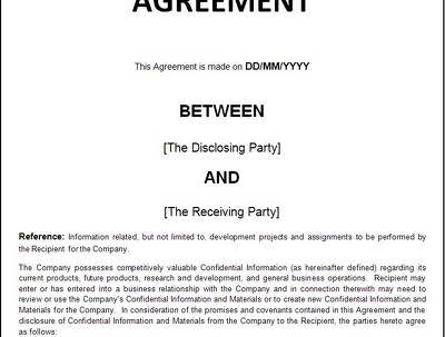 Draft a confidentiality and NDA non disclosure agreement