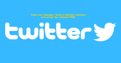 Tweet your message 1 times to 360,000+ followers