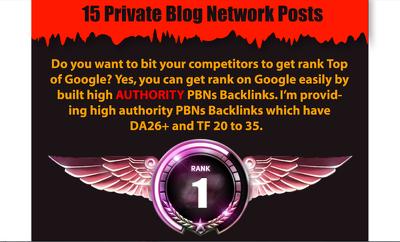 Ranking Solutions - 15 PBN Posts DA26+TF26+