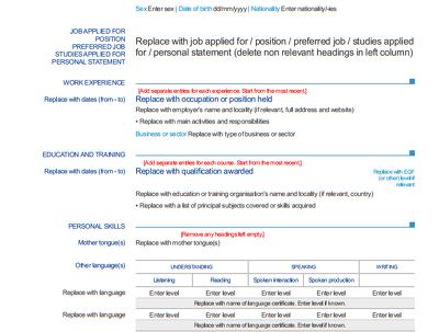 Format a EuroPass curriculum vitae (CV) for you