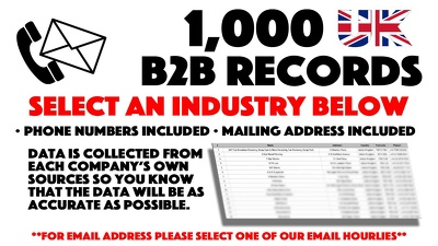 Deliver 1,000 Business Phone Numbers For An Industry You Select
