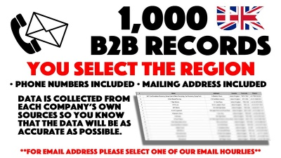 Deliver 1,000 Business Phone Numbers For Any Region You Wish.
