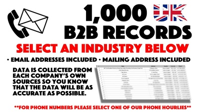 Deliver 1,000 Business Email Addresses For An Industry You Select