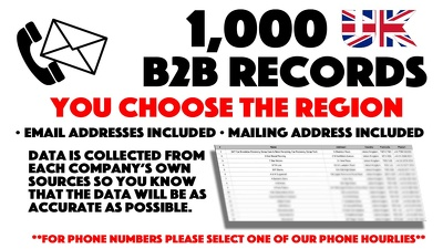 Deliver 1,000 Business Email Addresses For Any Region You Wish.