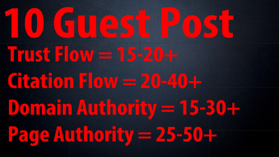 Provide You 10 PBN Guest Post On DA 15+ PA 25+ TF/CF 15+ Sites