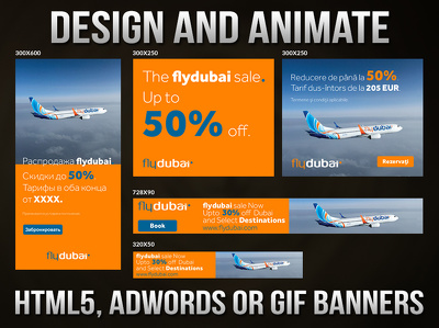 Design HTML5 Google Adwords with unique animation and CTA button