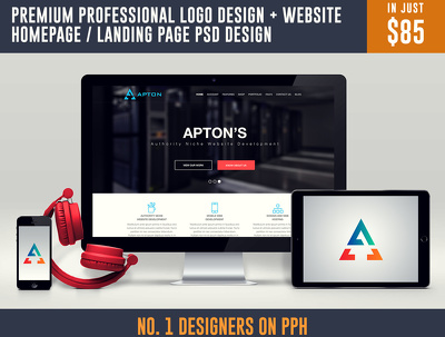 Premium Professional Logo Design + Website homepage / Landing Page PSD Design