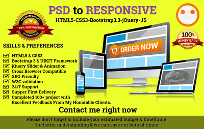 Convert PSD to HTML5 with responsive, using Bootstrap3 &  jQuery